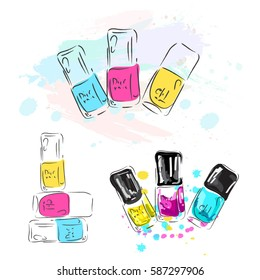 Illustration.Set of multicolored nail polish in a cartoon style. Dancing brushes and bottles filled with transparent varnish. Logo and an illustration for design decoration beauty.Cosmetics collection