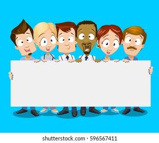 Illustration of multiethnic doctors team holding white banner