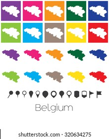 Illustration of Multiple Colours with Pointers of the map of Belgium