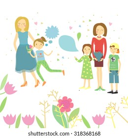Illustration with mums and children.