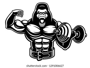 An illustration of a muscled gorilla with dumbbell on the white background, for fitness theme.