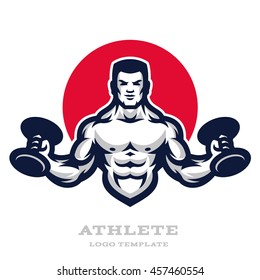 Illustration muscular man with dumbbells in his hands. Logo and mascot.