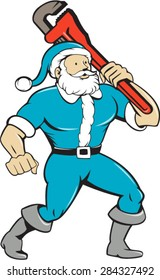 Illustration of a muscular santa claus saint nicholas father christmas carrying monkey wrench wearing blue suit looking to the side set on isolated white background done in cartoon style.