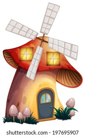 Illustration of a mushroom house with a windmill on a white background