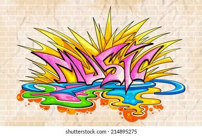 illustration of music background graffiti style
