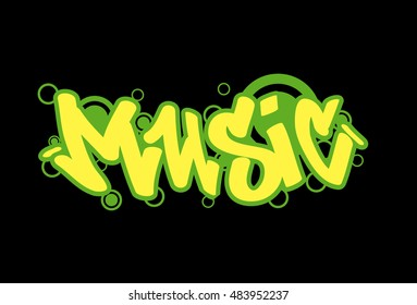 illustration of music background graffiti style. Vector isolated