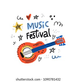 Illustration for music festival with acoustic guitar and lettering. Hand drawn concept for banners and postcards.