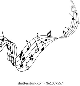 Illustration of music, the songs, notes, the melodies on a music background, music notes, music festival, music vector