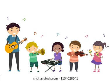 Illustration of a Music Stickman Teacher with Kids Playing Instruments from Guitar, Trumpet, Keyboard, Violin and Maracas