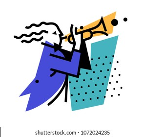 Illustration of a musician trumpeter. Logo playing on the pipe. Vector icon. Logo for jazz cafe, ensemble and orchestra of wind instruments. Character for musicians and companies. Mascot.
