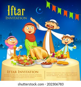 illustration of muslim family celebrating Eid in Iftar party