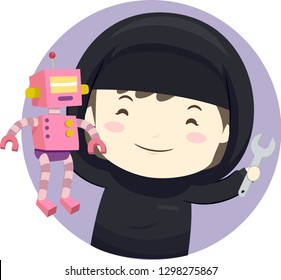 Illustration of a Muslim Kid Girl Holding a Toy Robot and a Wrench Learning Robotics
