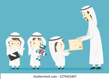 Illustration of Muslim Kids Boys Holding a Robot They Made and Receiving an Award from a Man