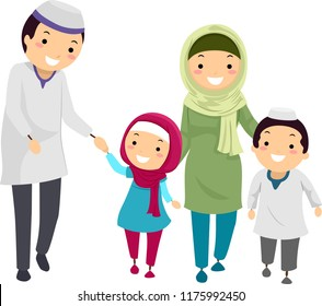 Illustration of a Muslim Stickman Family Walking Together