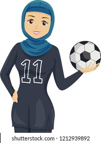 Illustration of a Muslim Teenage Girl Wearing Football Uniform and Holding a Ball