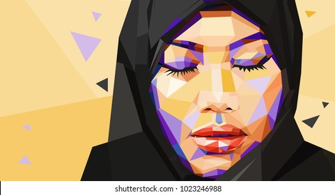 Illustration of a muslim woman with closed eyes in facets style