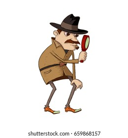 Illustration of mustachioed detective  looking through magnifying glass