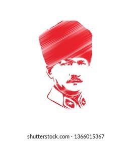 Illustration of Mustafa Kemal Ataturk portrait, vector