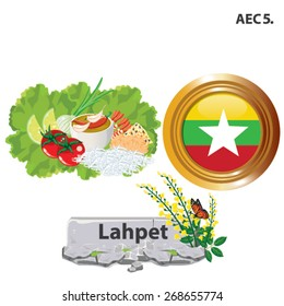 illustration. Myanmar national dishes. Gado Gado on white background.