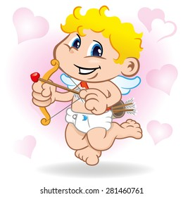 Illustration of mythical boy angel cupid character. Ideal for informational promotional and institutional