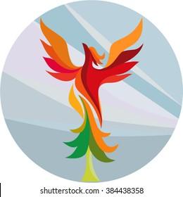 Illustration of a mythical phoenix bird rising up burning aspen tree set inside circle done in retro style on isolated background.