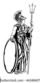 An illustration of the mythological Greek Goddess Athena with a trident spear and shield