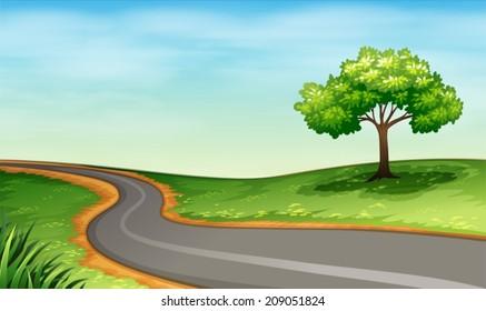 Illustration of a narrow road