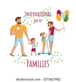 Illustration for National day of families card with happy family, mother, father little son and daughter have fun. Vector cartoon eps10