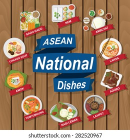 illustration of National dishes of ASEAN on wooden background.