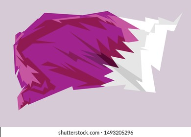 Illustration national flag of Qatar. It was adopted shortly before the country's declaration of independence from Britain on 3 September 1971.