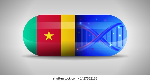 Illustration of the national pharmaceuticals of Cameroon. Drug production in Cameroon. National flag of Cameroon on capsule with gene
