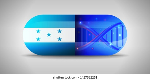 Illustration of the national pharmaceuticals of Honduras. Drug production in Honduras. National flag of Honduras on capsule with gene