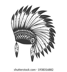 Illustration of native american headdress. Design element for logo, label, sign, emblem, poster. Vector illustration