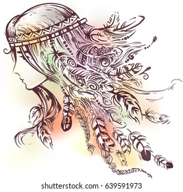 Illustration of a Native American Indian Girl wearing a Headband made of Feathers