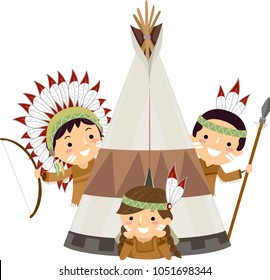 Illustration of Native American Indian Kids with Bow, Arrow, Spear and a Tent