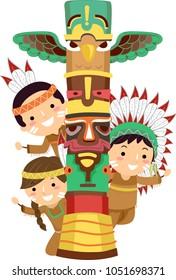 Illustration of Native American Indian Kids Peeking Behind a Totem Pole