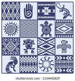 Illustration of Native Americans ethnic patterns and symbols: hand, sun, lizard, frog, bird, turtle, kokopelli. Blue shades.