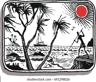 Illustration of native fisherman spearing fish from rocks.