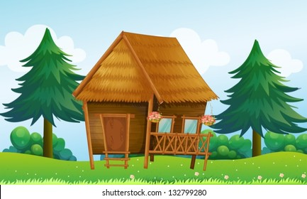 Illustration of a native house at the hill