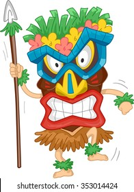 Illustration of a Native Man Wearing a Tiki Mask