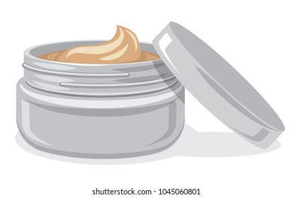illustration of natural body and face care cream jar