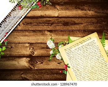Illustration of The Natural Rural Still Life with Old Letter and Floral at Wooden Background