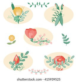 Illustration of nature elements. Set of bouquets vector. Floral stickers collection. Bouquets of flowers, branches, sweet pea, and leaves isolated on white. Stylish wedding floral elements