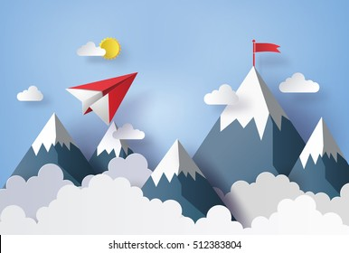 illustration of nature landscape and concept of business, plane flying on sky with cloud and mountain.design by paper art and  digital craft style