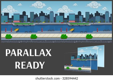 Illustration of a nature landscape ,with buildings city and river, vector unending background with separated layers for game.