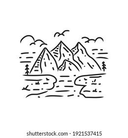 Illustration of nature outdoor monoline design vector