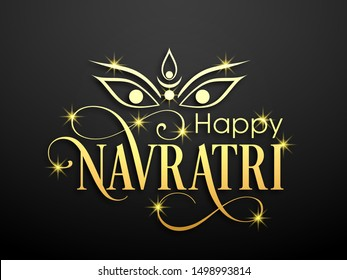 Illustration of Navratri with beautiful calligraphy.