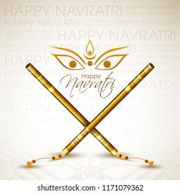 Illustration of Navratri with beautiful calligraphy and Dandiya.