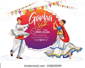 illustration of Navratri couple playing Dandiya in disco Garba Night banner poster invitation card