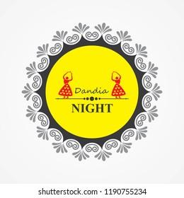 Illustration of Navratri and Garba utsav greeting card stock vector